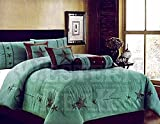 Western Peak Oversize Embroidery Texas Western Star Micro Suede Turquoise Brown Comforter Bedding Suede 7 Pieces Set (Turquoise King)