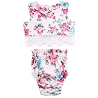 Princess Baby Girl Lace Flower Tops+Bottoms Briefs PP Pants Outfits Set Sunsu...