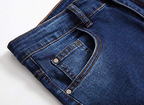 Media Vita Da Di Haidean Stretti Pantaloni Casual Strappati A Moderna Dritti Stretch Uomo Jeans Blu qACFCzw