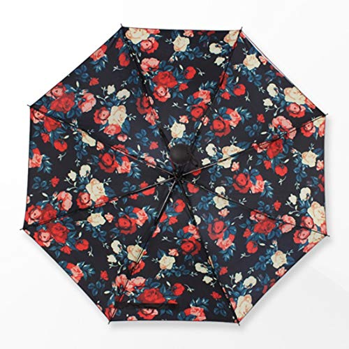 XIAMEND Creative Water, Flower, Three Folds, Thickened, Black Plastic Sunshade (Color : Bellamy red) ()