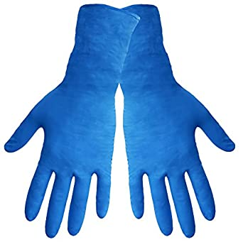 """Global Glove 805PF Nitrile Glove with Rolled Cuff, Disposable, Powder Free, 8 mils Thick, 11"""" Length, Extra Large (Case of 500)"""