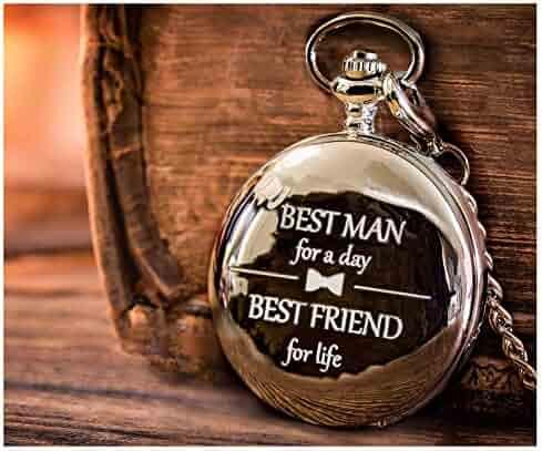 Best Man Gifts for Wedding – Engraved Best Man Pocket Watch for Best Man Wedding Gift