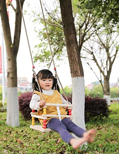 Hi Suyi Manual Wooden Secure Canvas Hanging Swing Seat Hammock Toy with Safety Belt for Infant to Toddler Indoor and Outdoor