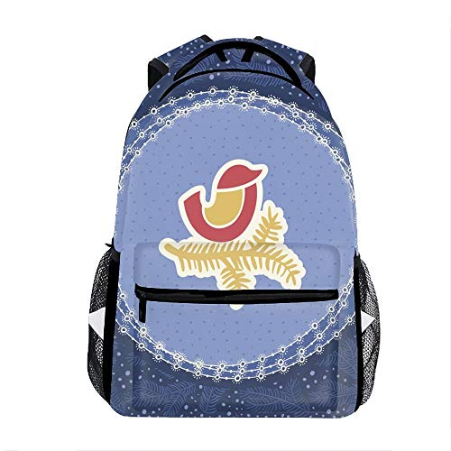 Christmas New Year Vintage Ornate Frame Printed Backpack Durable Bookbag -