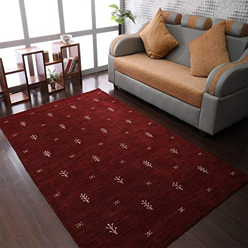 Rugsotic Carpets Hand Knotted Gabbeh Wool 10 x10 Square Area Rug Contemporary Red White L00501