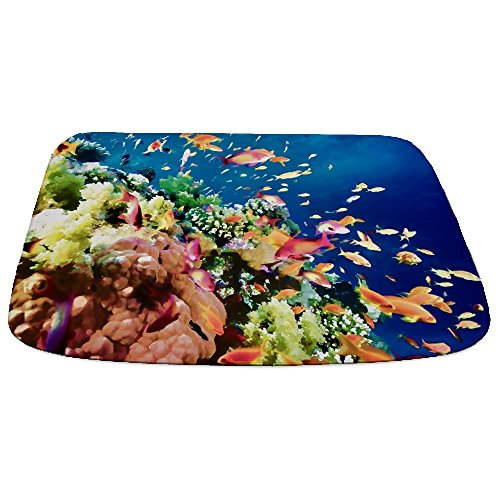 CafePress - School Of Tropical Fish In The Coral Reef Bath Bat - Decorative Bathmat, Memory Foam Bath Rug (Rug School Of Fish)