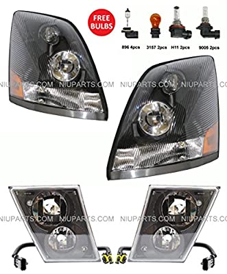 Volvo VNL Headlight with Dual Double Bulb Fog Lamp - Driver & Passenger Side