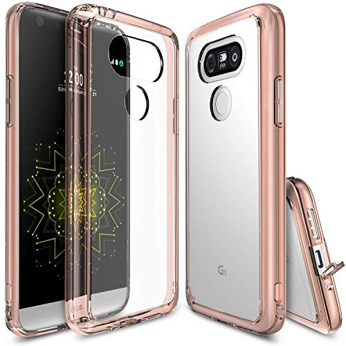 Ringke Fusion Compatible with LG G5 Case Crystal Clear PC Back TPU Bumper Drop Protection, Shock Absorption Technology Attached Dust Cap Raised Bezels Protective Cover for LG G5 2016 - Rose Gold