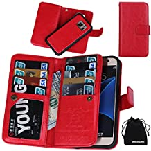 S7 Case, DRUnKQUEEn Premium Leather Credit Card Holder Feature Wallet Type Flip Folio Case - Detachable Magnetic Back Cover with Lanyard Wrist Hand Strap for G930 Samsung Galaxy S7 - Red
