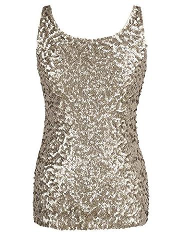 PrettyGuide Women Shimmer Glam Sequin Embellished Sparkle Tank Top Vest Tops XXL Champagne - Womens Shimmer