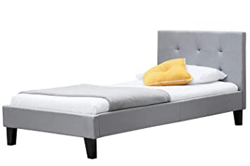newest 27bec 7c63b Blenheim Grey Fabric Upholstered Bed Frame Buttoned Headboard (Single 3FT)