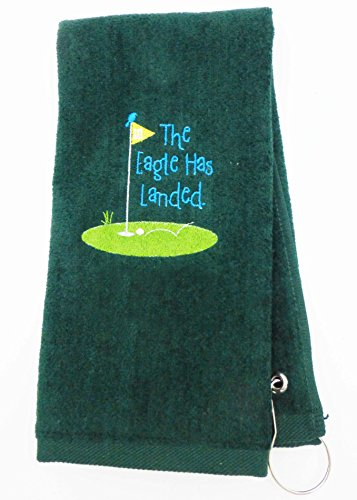 Mana Trading Custom Personalized Embroidered Golf Towel The Eagle HAS Landed (Hunter Green)