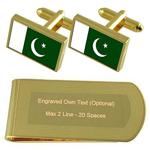 Pakistan Engraved Gold Flag Clip Cufflinks tone Gift Set Money WWCdrpZ