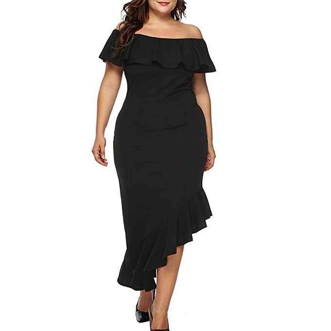 ebfbe9aee073 HOOYON Plus Size Dress Women's Off Shoulder Ruffle Evening Party Bodycon Mermaid  Midi Dress Black