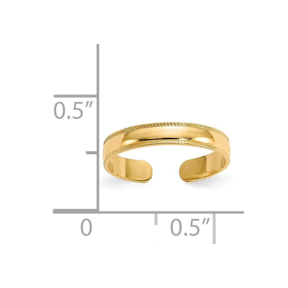 14K Yellow Gold Mill Grain Adjustable Toe Ring