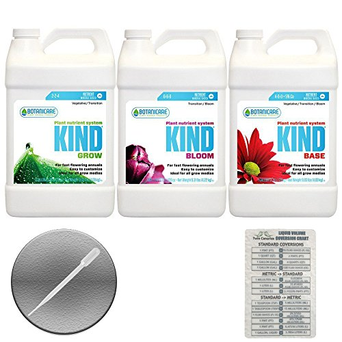 BOTANICARE KIND 3 PACK BUNDLE: GROW, BLOOM, BASE + Twin Canaries Chart & PIPETTE - 1 GALLON - Chart Base