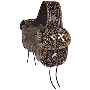 Tough 1 Western Saddle Bag Antique Tooled Leather Brown 61-9940