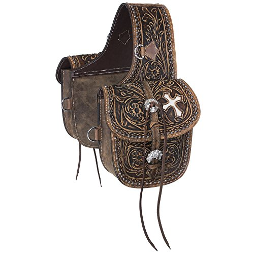 Tough-1 Western Saddle Bag Antique Tooled Leather Brown 61-9940 by Tough 1 (Image #1)