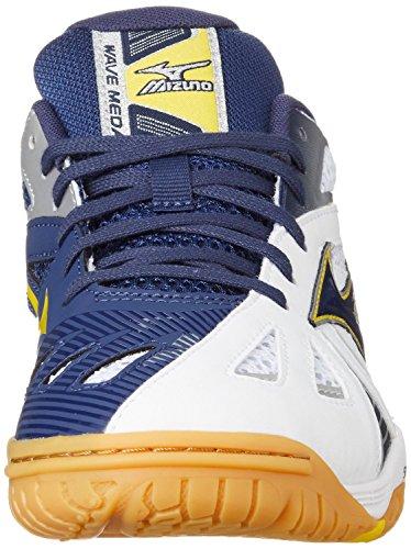 Mizuno Zapatos Wave Medal 5, White/MedBlue/CyberYello White/MedBlue/CyberYello