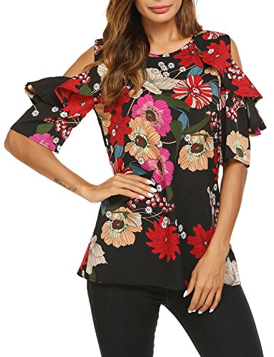 Jeere Womens Floral Print Cut Out Off Shoulder Short Sleeve T Shirt Tops Blouse Black S