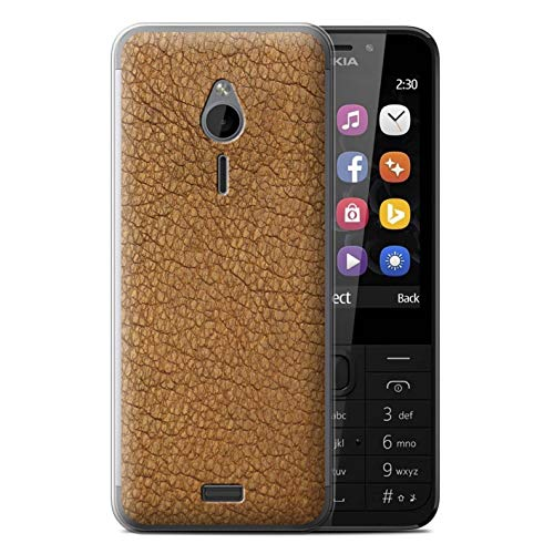 230 Br Covers - eSwish Gel TPU Phone Case/Cover for Nokia 230 / Cocoa Brown Design/Leather Patch Effect Collection