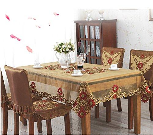 "Price comparison product image Luk Oil Fashion Bohemia European Style Rectangle Tablecloth Transparent Gauze Embroidered Table Cloth 43""x66"""