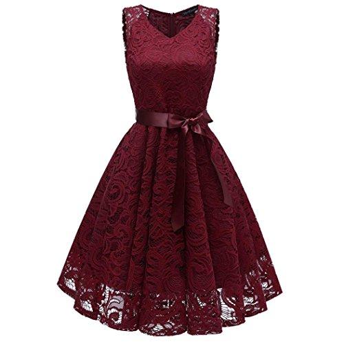 Women Vintage Off Shoulder Party Dress Clearance!Rakkiss Princess Floral Lace Cocktail Aline Swing Skirt ()