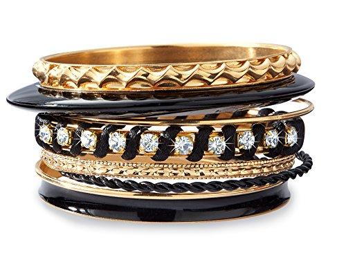 Stacking Black and Gold Tone Bangle Bracelets - Set of 8 (Bracelet Bangle Plastic Jewelry)