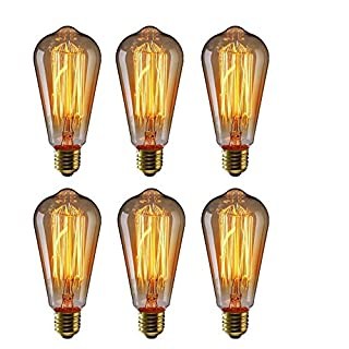 Edison 60W Vintage ST64 Bulb Antique 110V Retro Squirrel Cage Filament Dimmable Warm Light Teardrop Style Replacement Bulbs-6 Pack