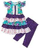 Angeline Boutique Girls Spring Summer Floral Purple Turquoise Capri Set 24M-2T/S