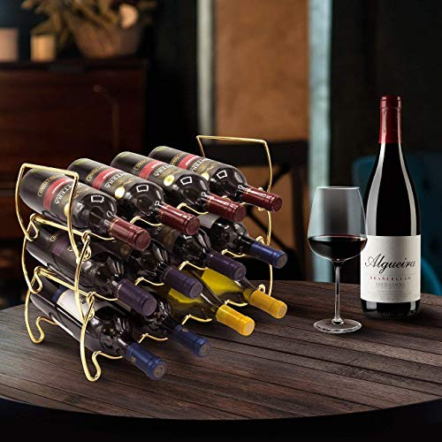 Sorbus 3-Tier Stackable Wine Rack - Classic Style Wine Racks for Bottles - Perfect for Bar, Wine Cellar, Basement, Cabinet, Pantry, etc - Hold 12 Bottles, Metal (Gold) by Sorbus (Image #2)