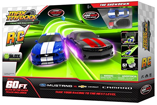 Max Traxxx R/C Award Winning Tracer Racers High Speed Remote Control 'The Showdown' Officially Licensed Ford Mustang vs Chevy Camaro Track Set