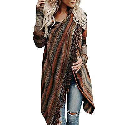PASATO Women Tassel Irregular Cardigan Knitted Sweater Poncho Shawl Coat Jacket Outwear Clearance Sale