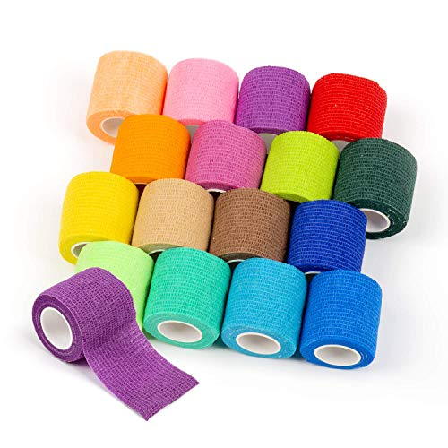 Para-wish 16pcs Disposable Cohesive Tattoo Grip Cover Wrap, Self Grip Roll Elastic Bandage Handle Grip Tube