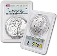 2021 1 oz American Silver Eagle MS-70 (First Day of Issue - Type 2 - Flag Label) by CoinFolio $1 MS70 PCGS
