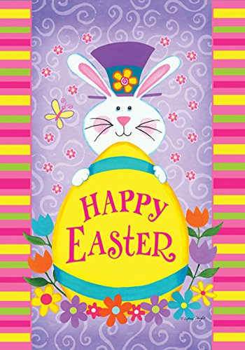 Toland Home Garden Top Hat Bunny 28 x 40 Inch Decorative Happy Easter Rabbit Spring Flower House Flag