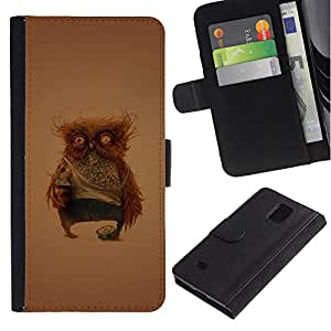 Billetera de Cuero Caso Titular de la tarjeta Carcasa Funda para Samsung Galaxy Note 4 SM-N910 / Funny Weird Owl / STRONG