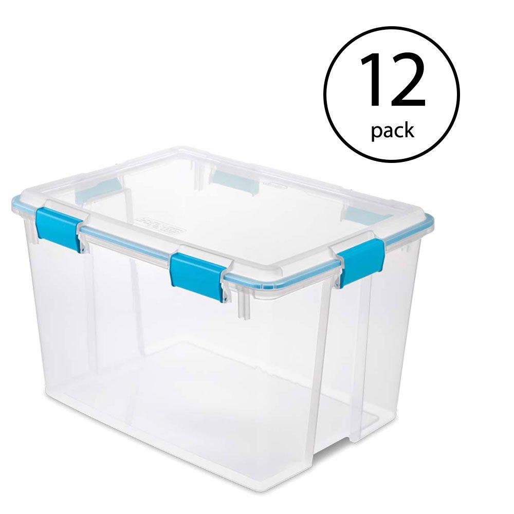 STERILITE 80-Quart Plastic Storage Gasket Box Container (12 Pack)