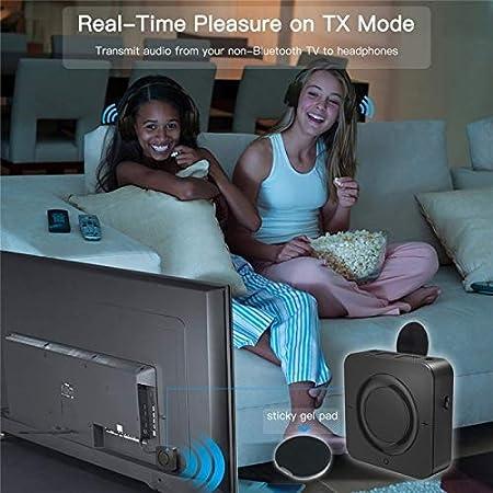 EDR drahtlose Bluetooth-Sender-Empf/änger-Adapter Stereo-Audio-Music-Adapter mit 3,5-mm-Audiokabel CattleBie Bluetooth V5.0 Color : Black
