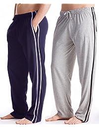 2 Pack - Mens Sleep Lounge Mens Jogging Trousers Pyjama Bottoms Pants (Medium)
