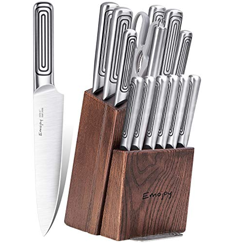 Knife Set, 15-Piece Kitchen Knife Set with Block Wooden and Sharpener Stainless Steel Hollow Handle for High Carbon…