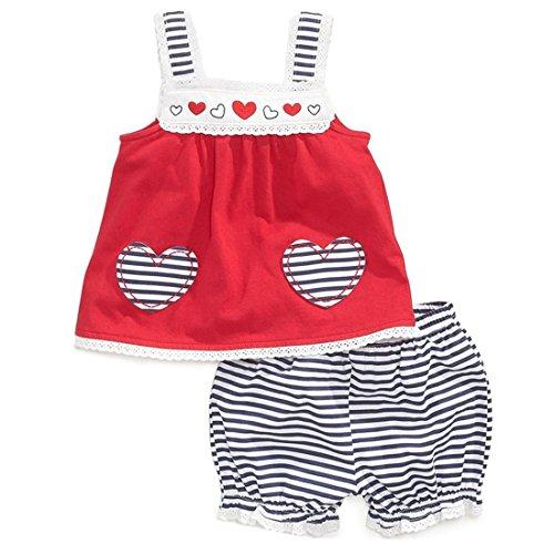 roja ropa Little Band pantalones Juego Cotton Girl camiseta hombre de Adiasen para 1wvqUgR