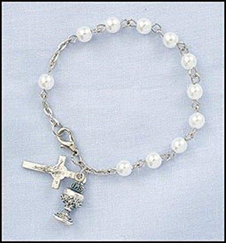 (Girls Imitation Pearl Rosary Bracelet with Chalice & Cross Charm, 6mm Bead)