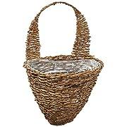 "Gardman R299 Rustic Rattan Half Hive Hanging Wall Basket, 12"" Wide x 10"" Deep"