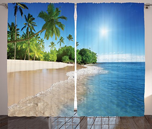 Palm Tree Blue (Blue Curtains Decor by Ambesonne, Ocean Tropical Palm Trees on Sunny Island Beach Scene Panoramic View Picture, Living Room Bedroom Window Drapes 2 Panel Set, 108 W X 84 L Inches, Blue Green and White)