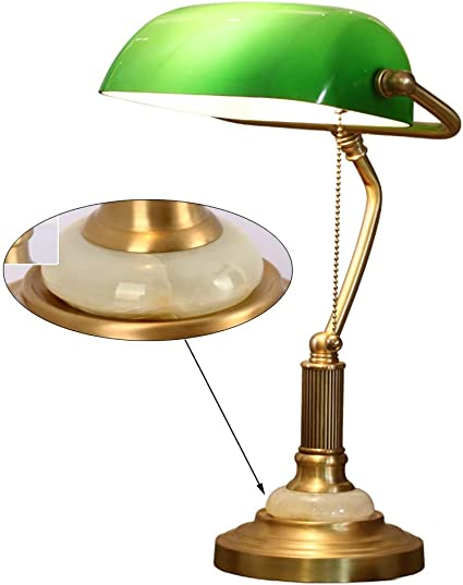 Lampada Da Tavolo Vintage Lampada Da Scrivania In Ottone Da Studio Lampada Da Tavolo Tradizionale Di Antiquariato Banchiere Con Base Di Giada E Paralume In Vetro Verde Interruttore A Fune E27 Retro