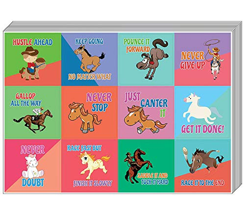 Horse Stickers for Kids (10-Sheet) - Inspiring Motivational Words Wall Stickers Assorted Set - Gift Rewards Ideas for Boys, Girls - Twelve Inspirational Words