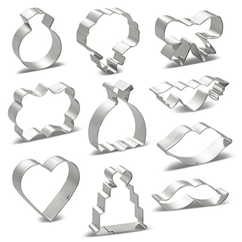 LILIAO Cookie Cutters Set for Wedding - 10 PCS - Wedding Dress, Diamond Ring, Bow-tie, Wedding Cakes, Heart, Heart with Wings, Bouquet, Plaque, Lips and Beard - Stainless ()