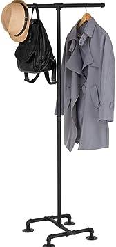 TopJi/ä Industriale Metallico Attaccapanni con 3 Livelli Ganci,Appendiabiti da Terra Tipo di Albero per Vestiti Cappelli Sciarpe Borse,Assemblaggio Facile Appendiabiti da Terra Bianca 45x45x175cm