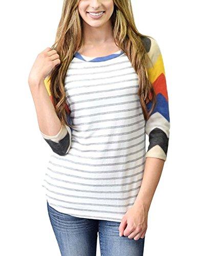 DREAGAL 3/4 Sleeve Baseball Tee Shirt Blouse For Juniors Red Chevron Medium